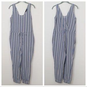 Anthropologie Drew Blue & White Striped Jumpsuit